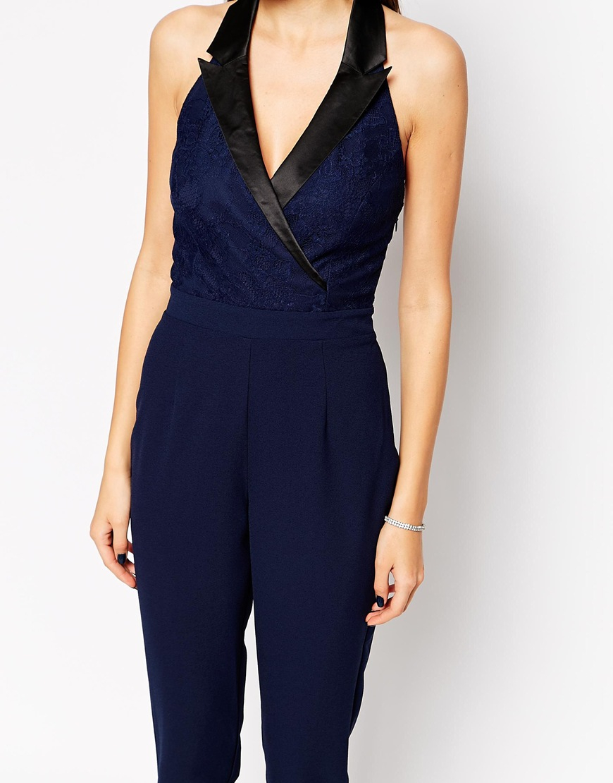 512b9166fa9 Lipsy Michelle Keegan Loves Tuxedo Jumpsuit - 011 Black in Black - Lyst