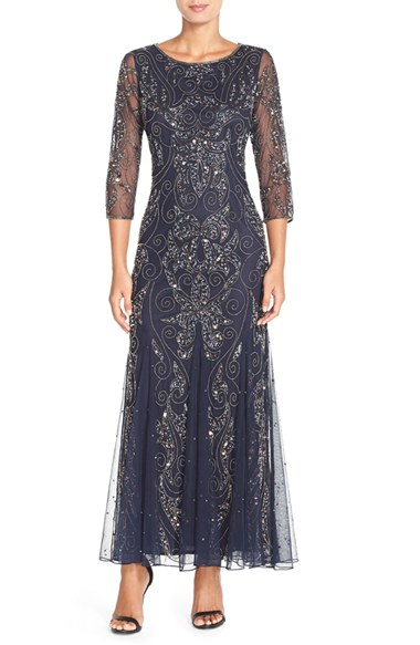 Pisarro Nights Embellished Mesh Gown In Blue Lyst