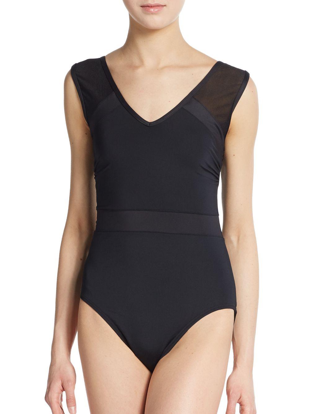 lyst calvin klein v neck maillot swimsuit in black. Black Bedroom Furniture Sets. Home Design Ideas