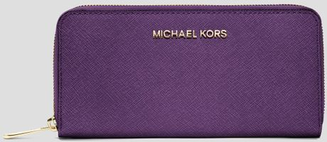 Germany Michael Kors Wallets - Accessories Michael By Michael Kors Wallet Saffiano Zip Around Continental Violetgold