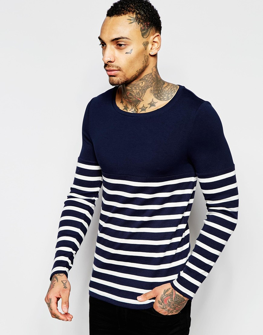 Lyst - Asos Extreme Muscle Long Sleeve T-shirt With Stripe Rib And Contrast  Yoke in Black for Men