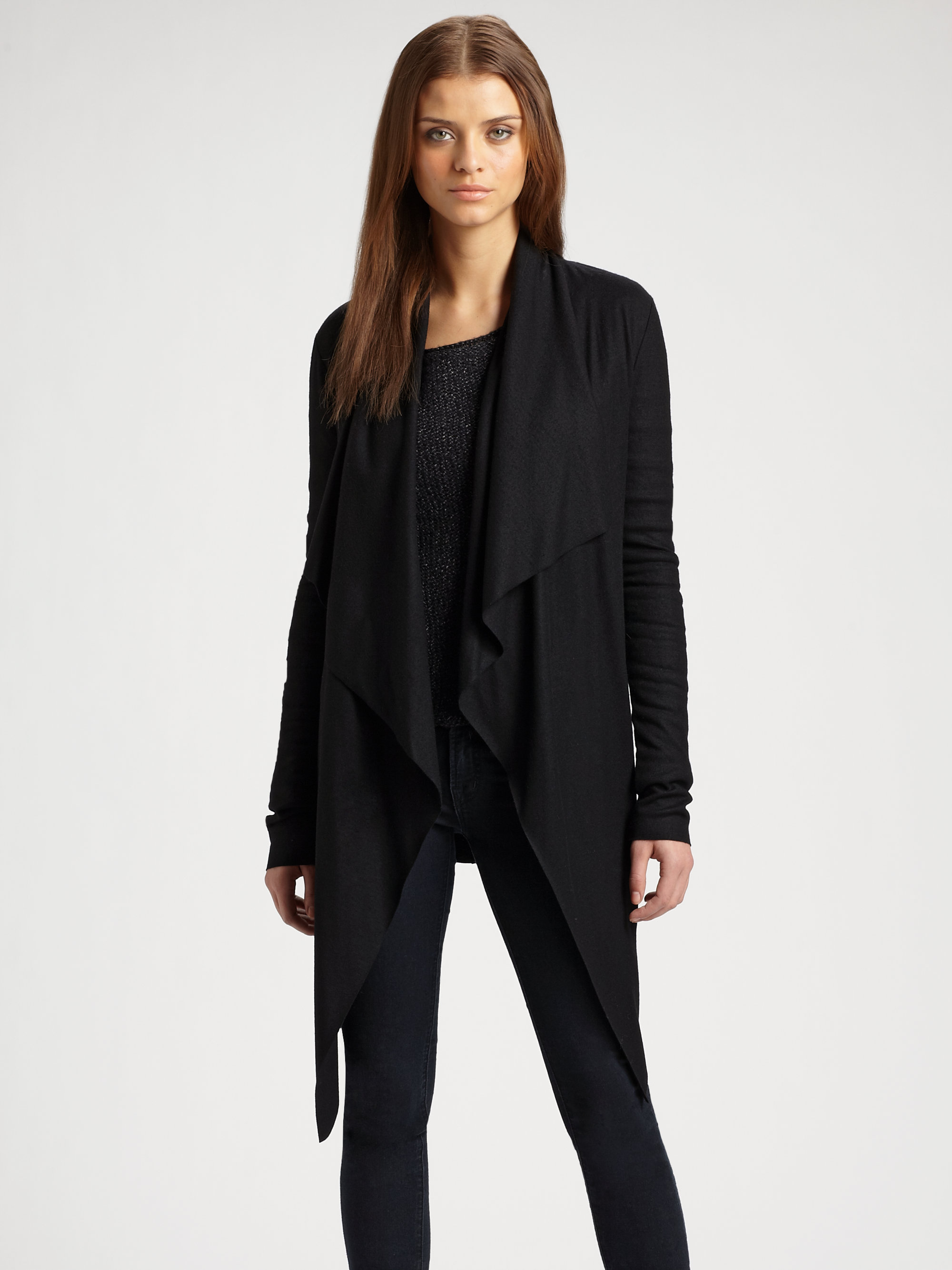 Helmut lang Sonar Belted Wool Jersey Cardigan in Black | Lyst