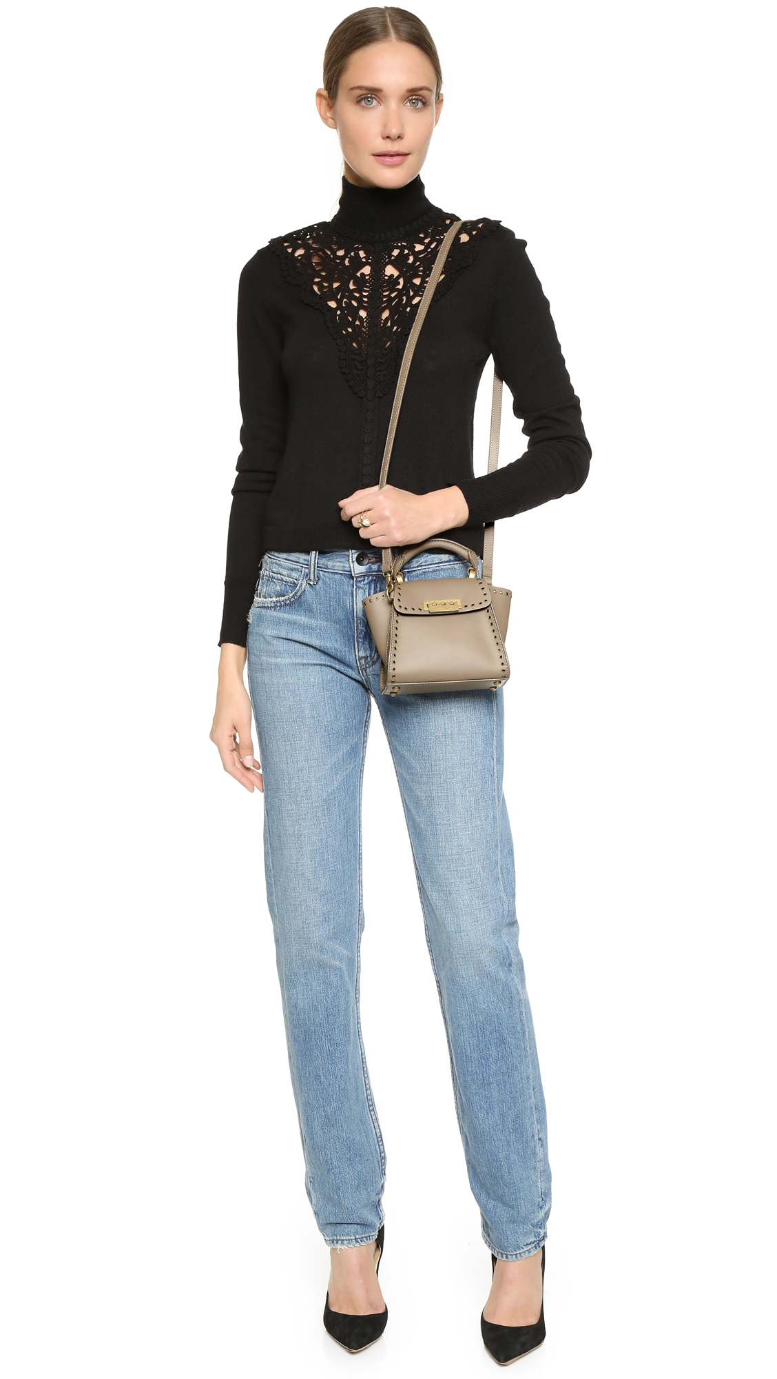 Zac Zac Posen Leather Eartha Top Handle Mini Cross Body