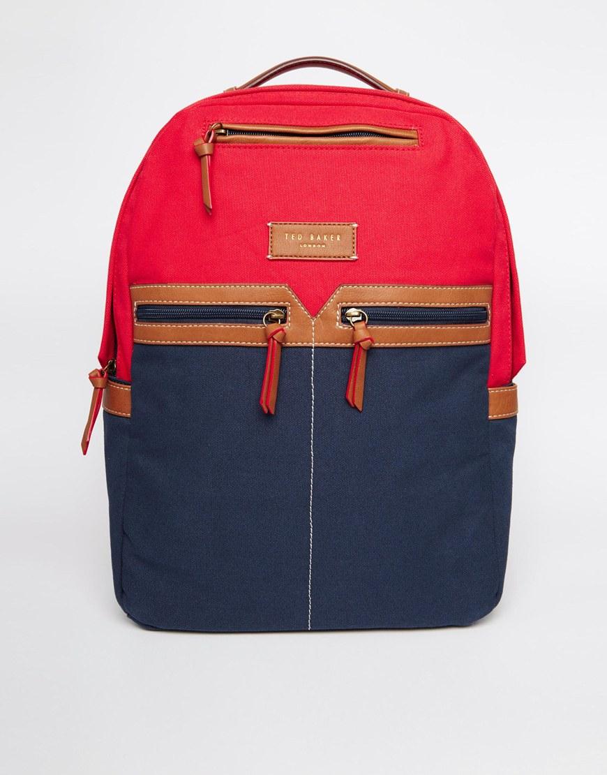 ted baker canvas backpack in blue for men lyst. Black Bedroom Furniture Sets. Home Design Ideas
