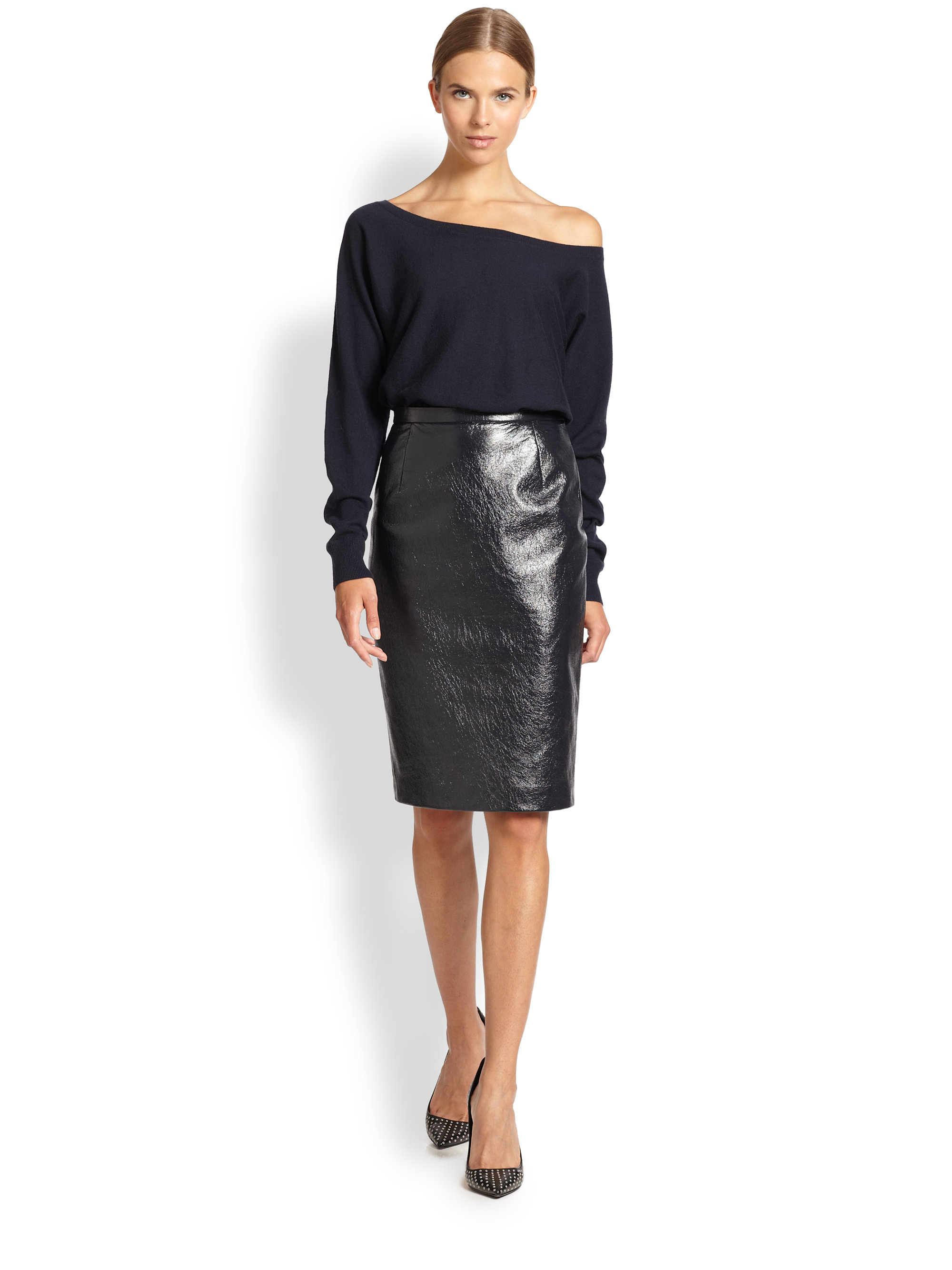 Tamara mellon Coated Leather Pencil Skirt in Blue | Lyst