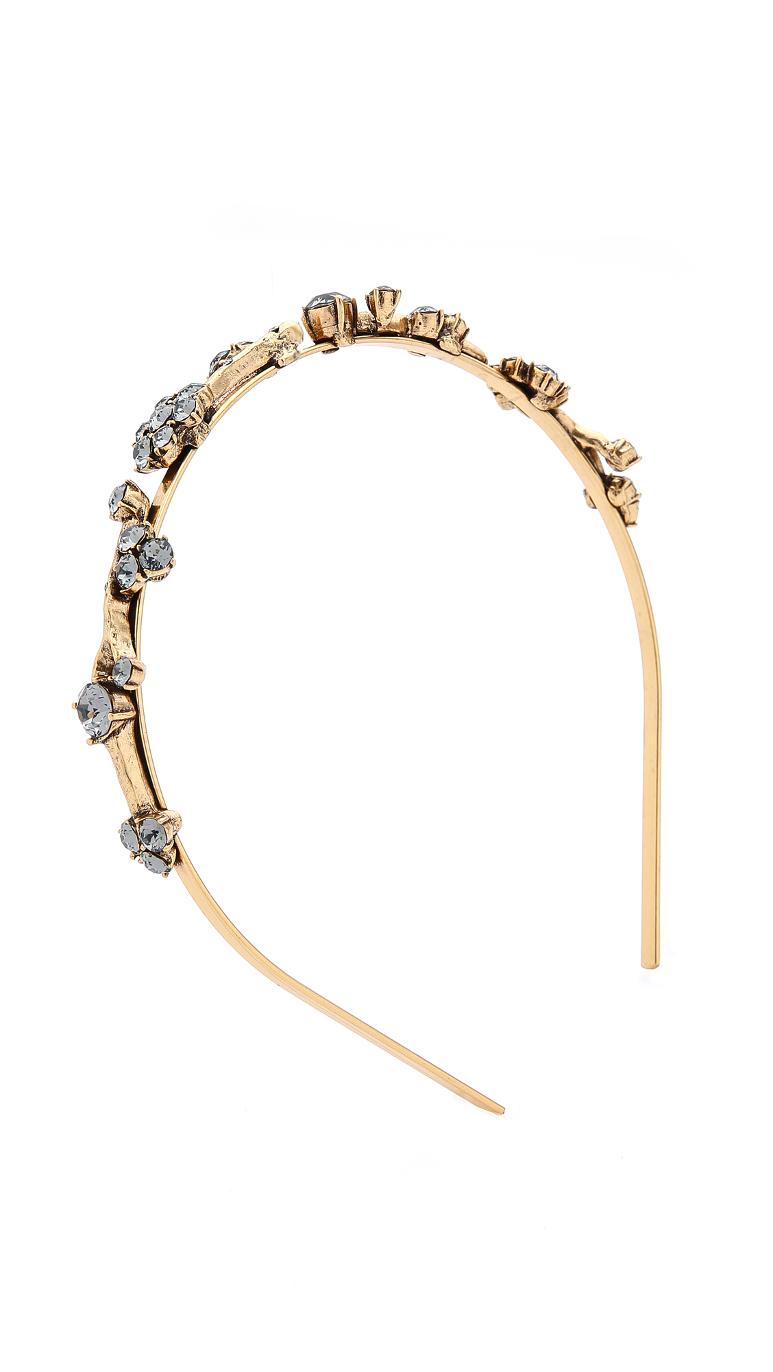 Lyst - Oscar de la Renta Crystal Branch Headband - Black Diamond in ... 4cf3b4908af