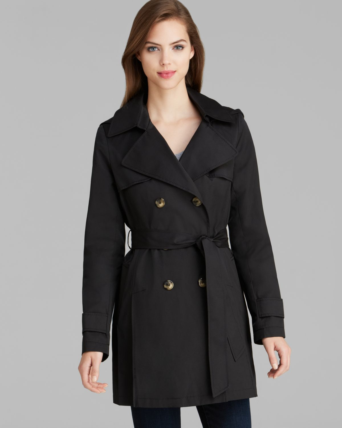 100% satisfaction genuine autumn shoes DKNY Abby Hooded Trench Coat in Black - Lyst