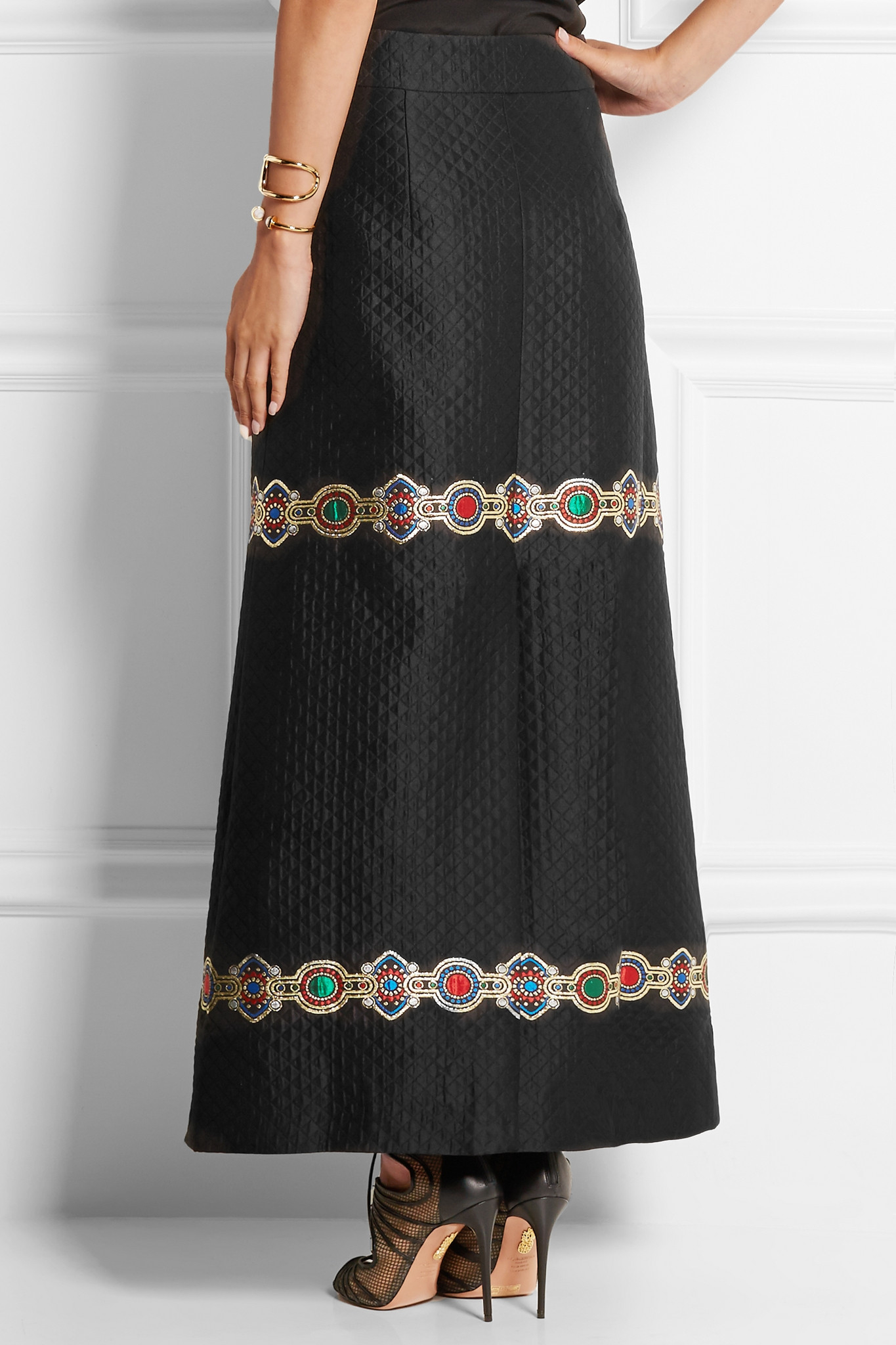 alessandra rich embroidered quilted jacquard maxi skirt in
