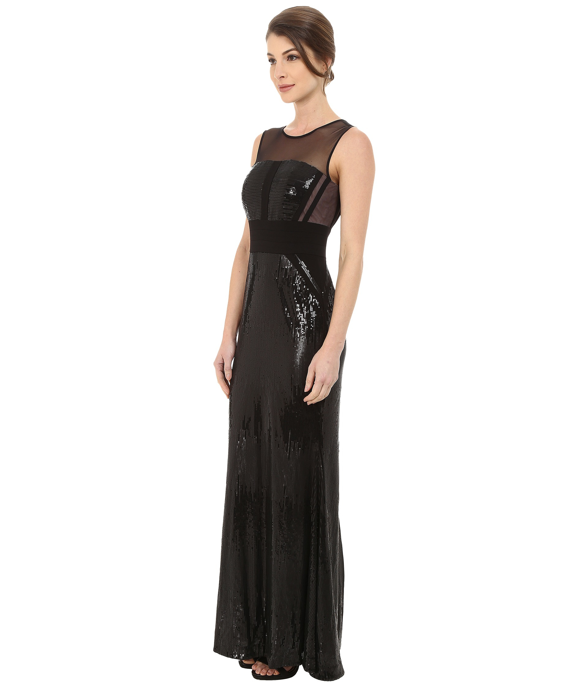 Lyst - Calvin Klein Sequin Gown At Illusion Yoke in Black