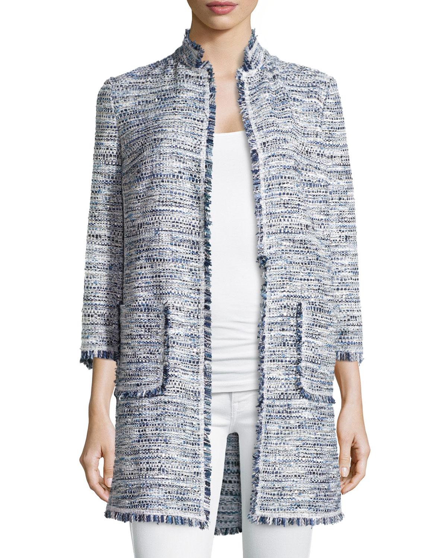 Neiman marcus Fringe-Trimmed Boucle Jacket in Blue