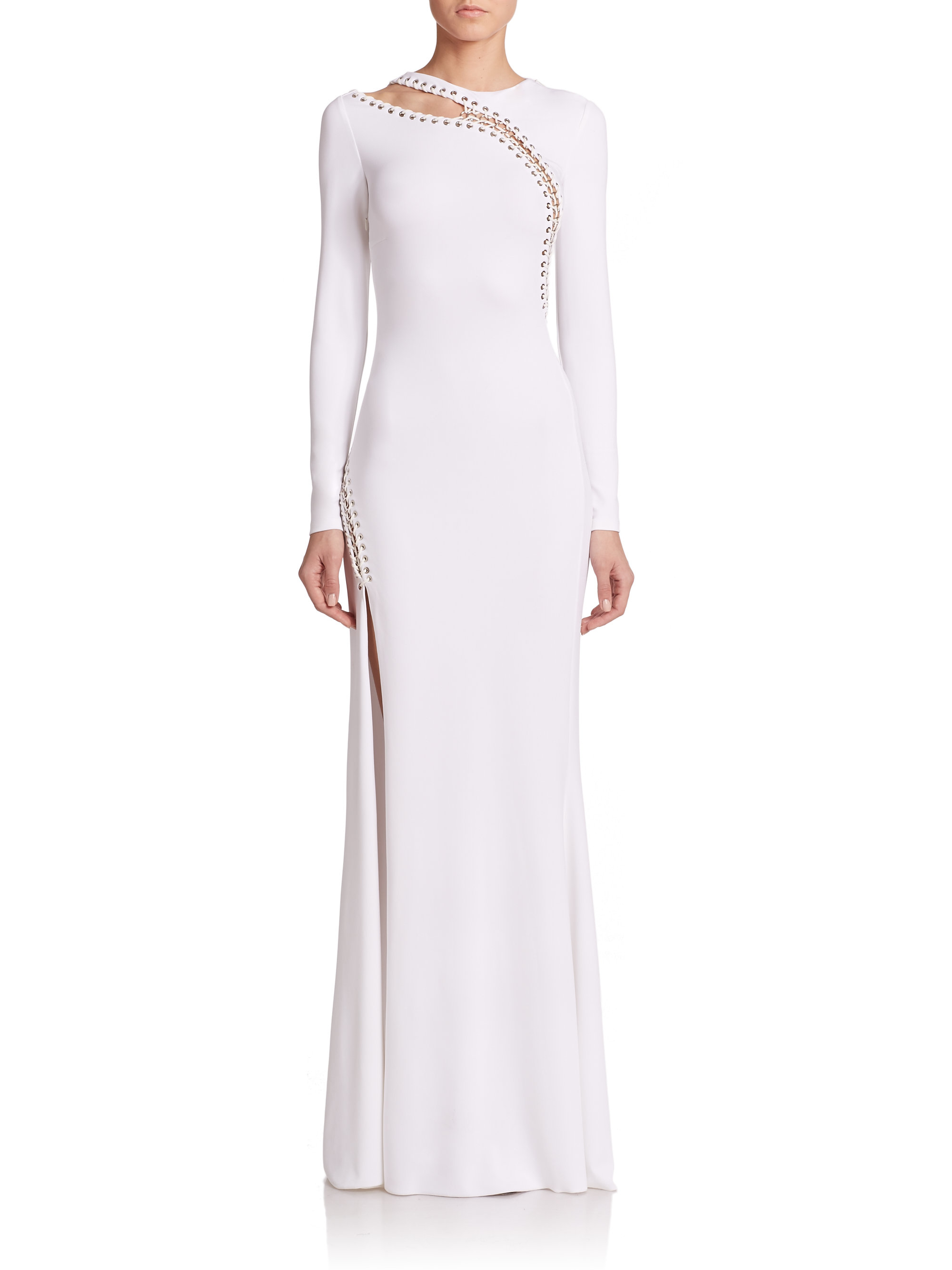 Emilio pucci Grommet-detail Gown in White | Lyst