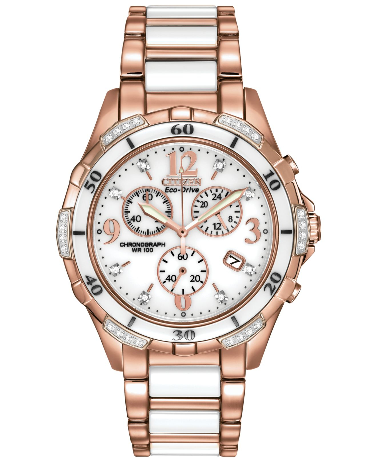 Citizen Women's Chronograph Eco-drive Diamond Accent White ...