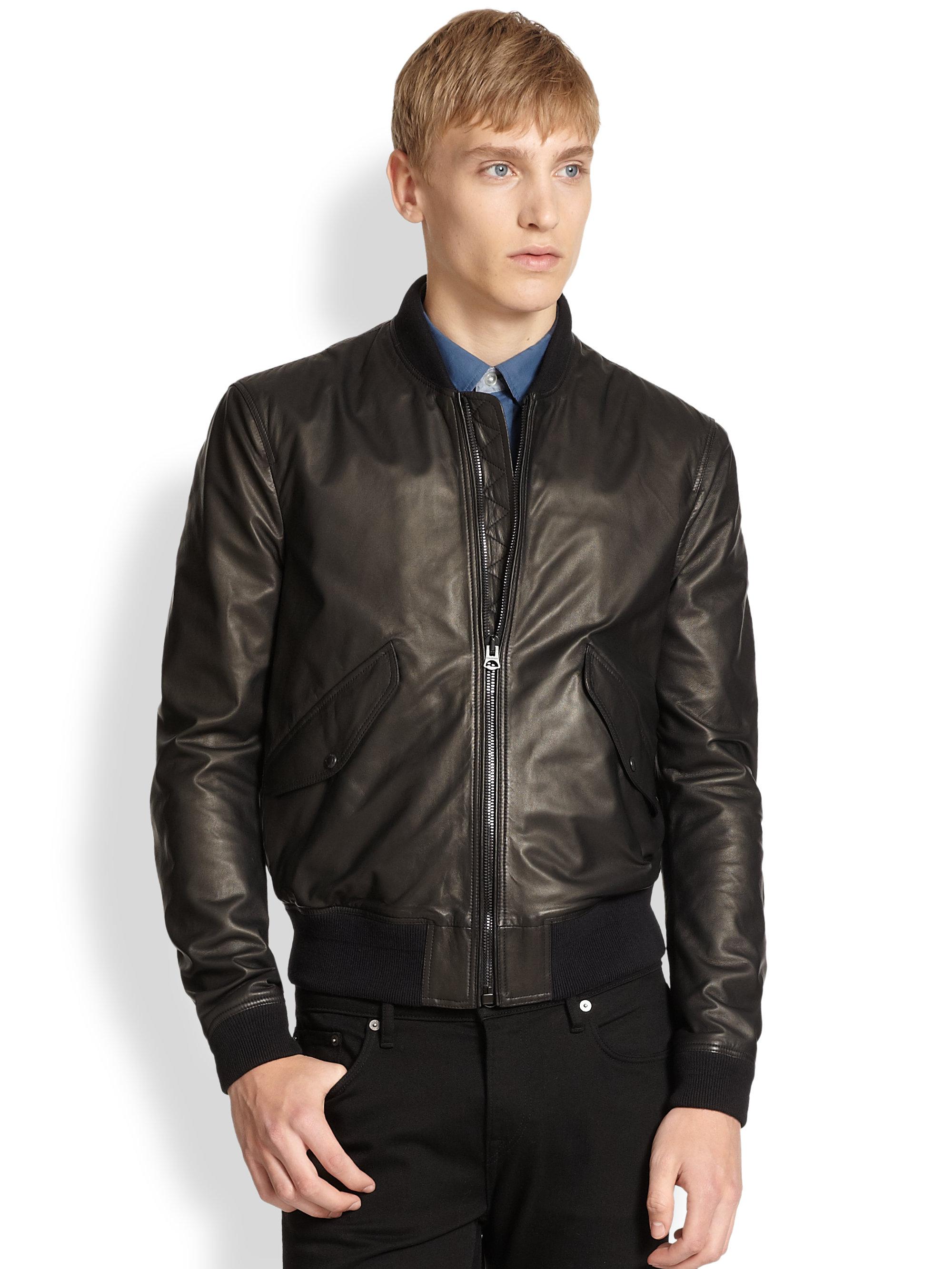 Mens leather blouson jacket