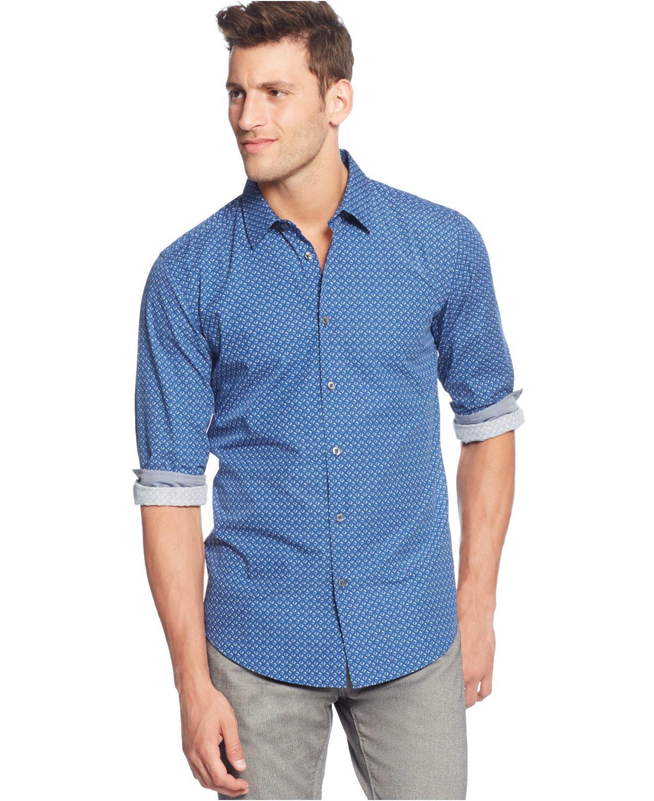 Boss boss slim fit micro print dress shirt in blue for men for Hugo boss formal shirts