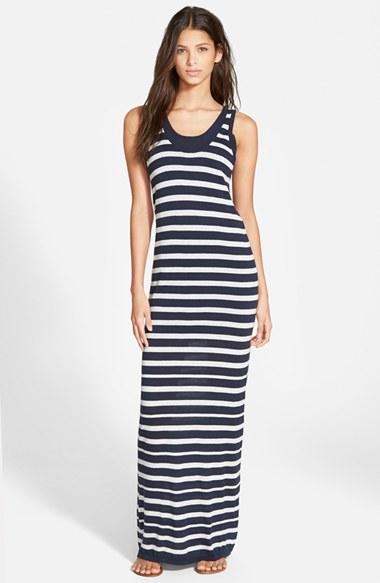 Navy Blue White Striped Maxi Dress - Gallery Fashion