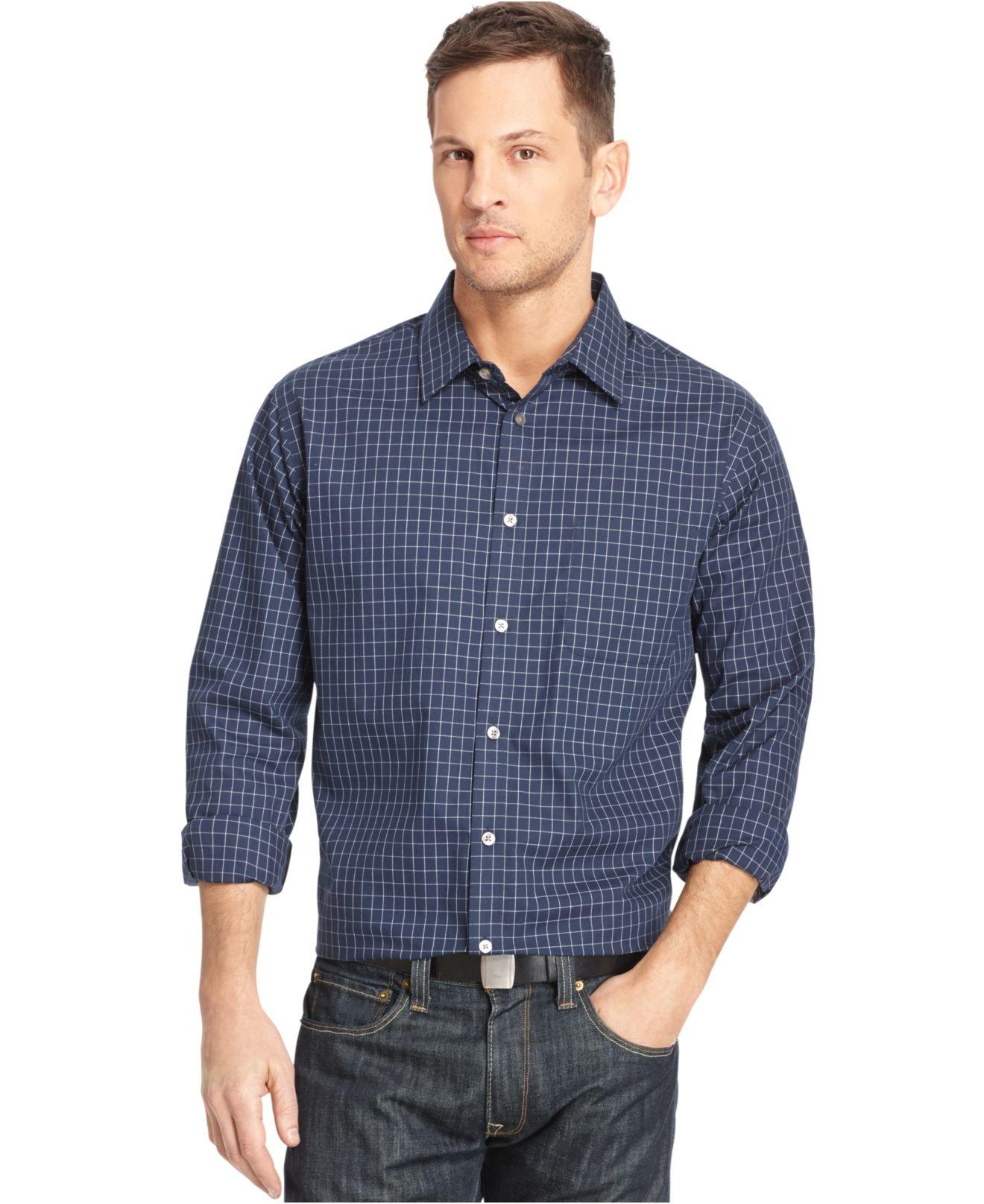 Van Heusen Long Sleeve No Iron Shirt In Natural For Men Lyst