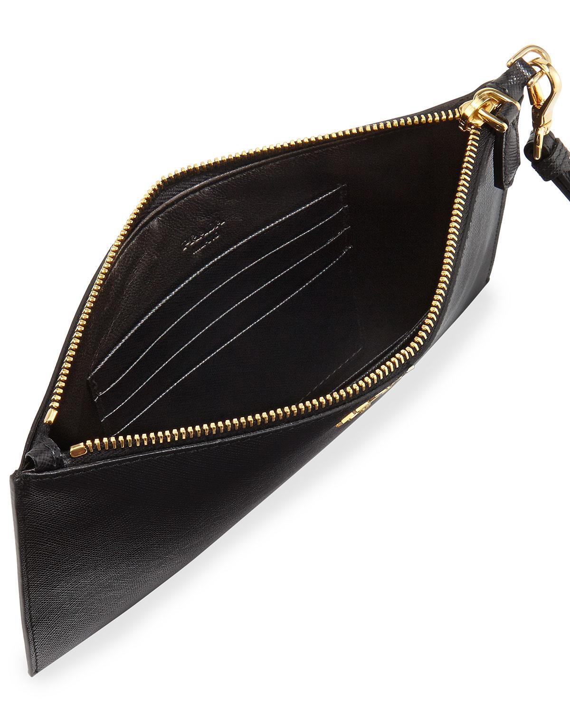 7225338a2d Prada Black Saffiano Flat Zip Wristlet
