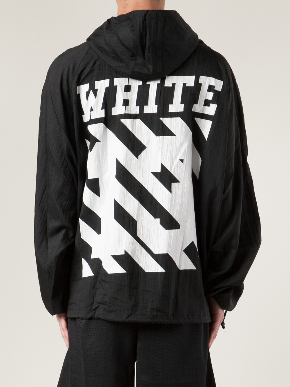 off white c o virgil abloh striped drawstring raincoat in. Black Bedroom Furniture Sets. Home Design Ideas