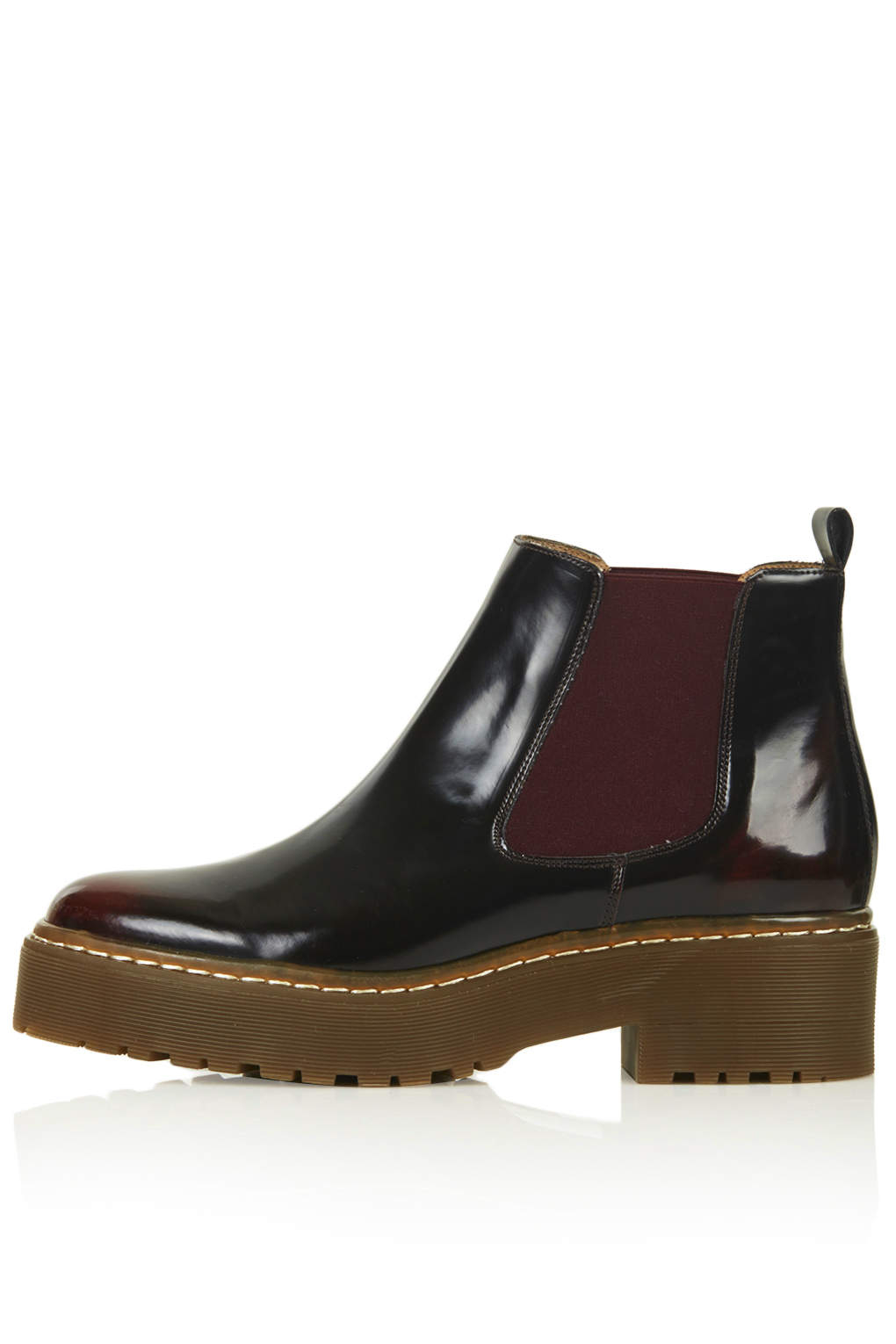 topshop absolutely chelsea boots in red bordeaux lyst. Black Bedroom Furniture Sets. Home Design Ideas