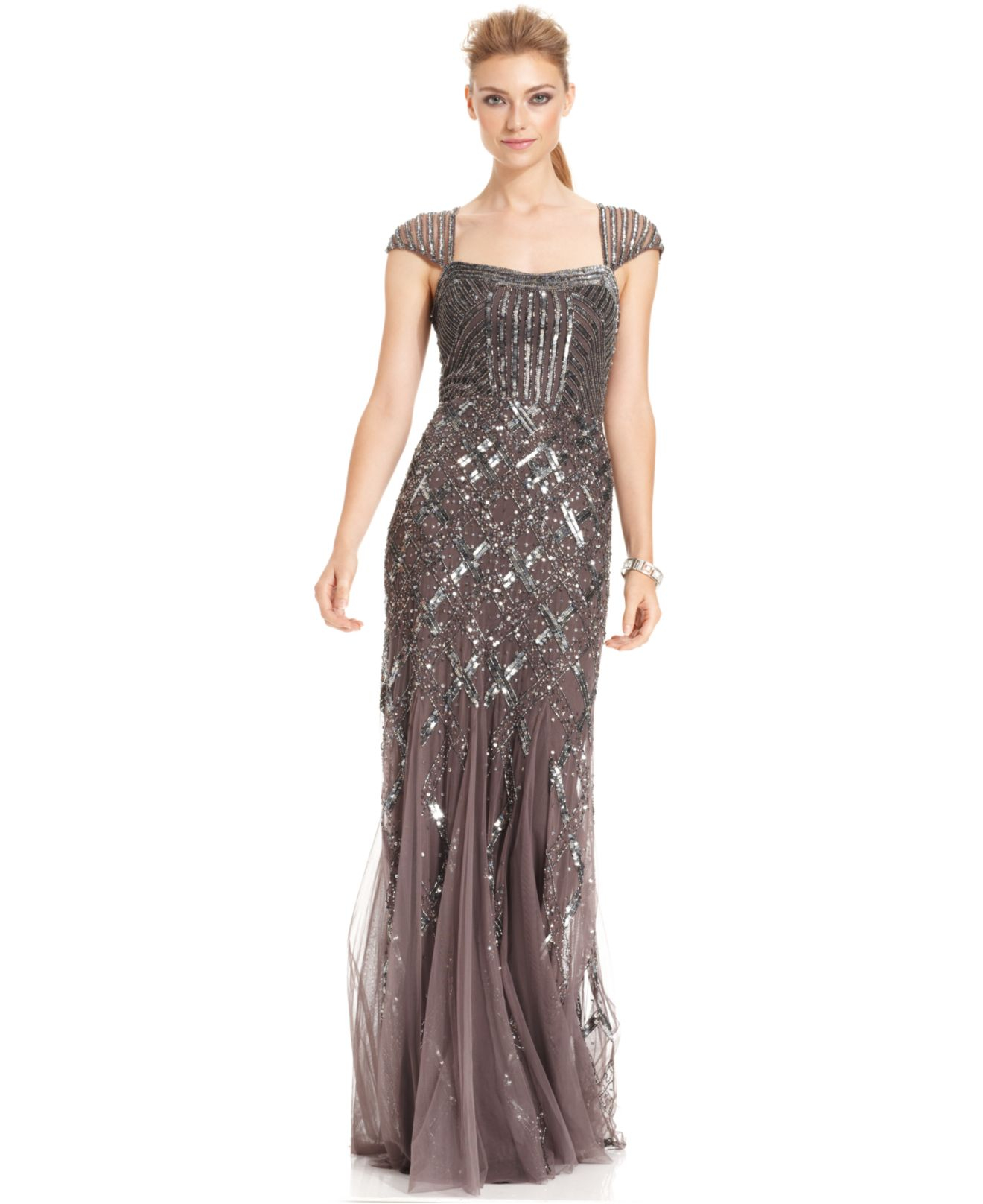 Lyst - Adrianna Papell Cap-Sleeve Sequined Gown in Metallic