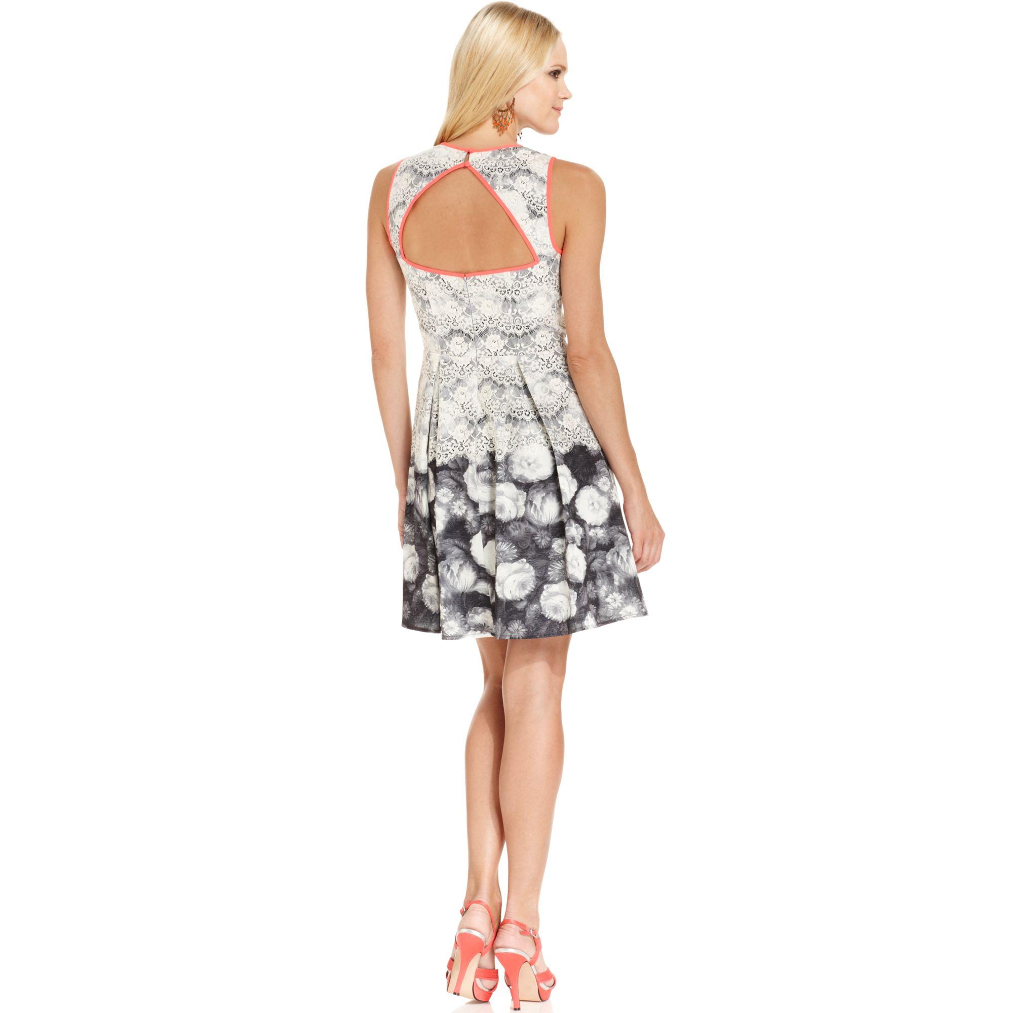 Jessica Simpson Sleeveless Lace Floralprint Dress In White