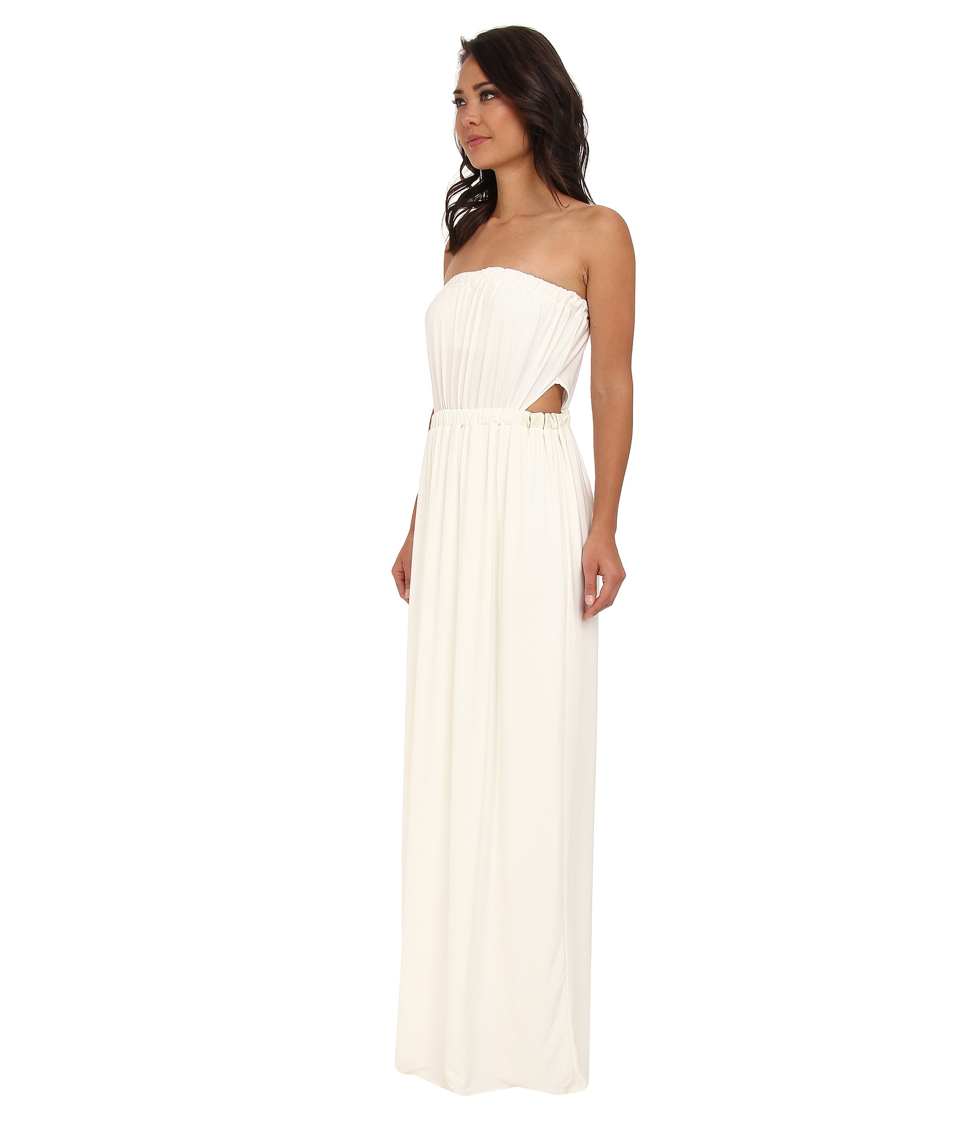 T-bags Tube Maxi Dress W Side Cutouts in White | Lyst