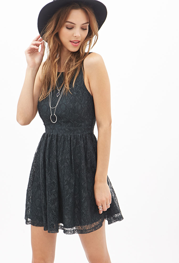 forever 21 crisscrossback lace dress in green lyst