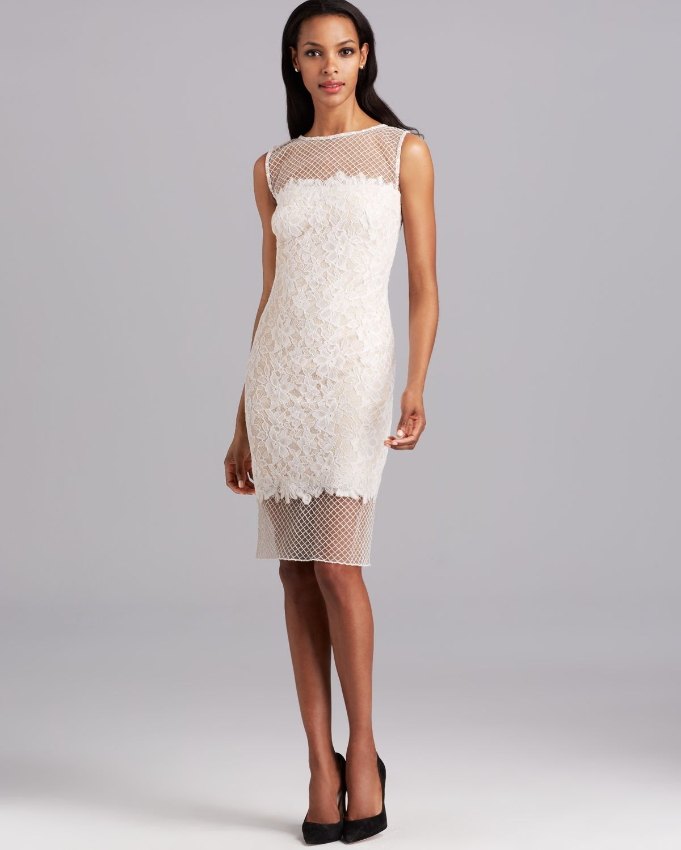0a5378887f40 Lyst - Tadashi Shoji Shoji Dress Sleeveless Lace Mesh Bottom in White