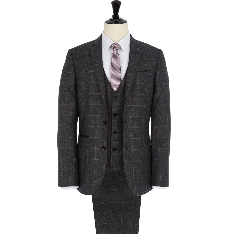 River island Dark Grey Check Slim Suit Pants in Gray for Men | Lyst