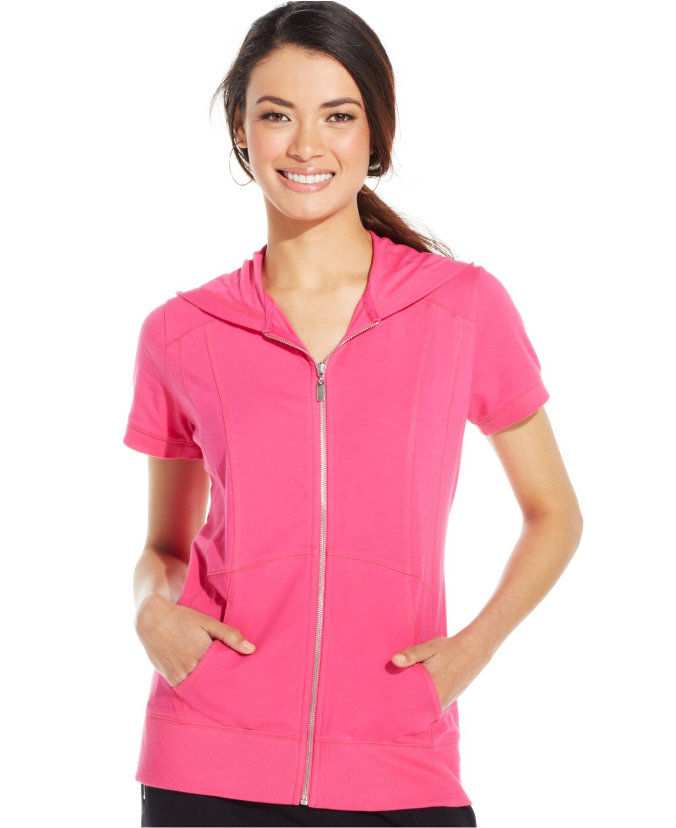 Style & co. Style&Co. Sport Short-Sleeve Zip-Front Hoodie in Pink ...