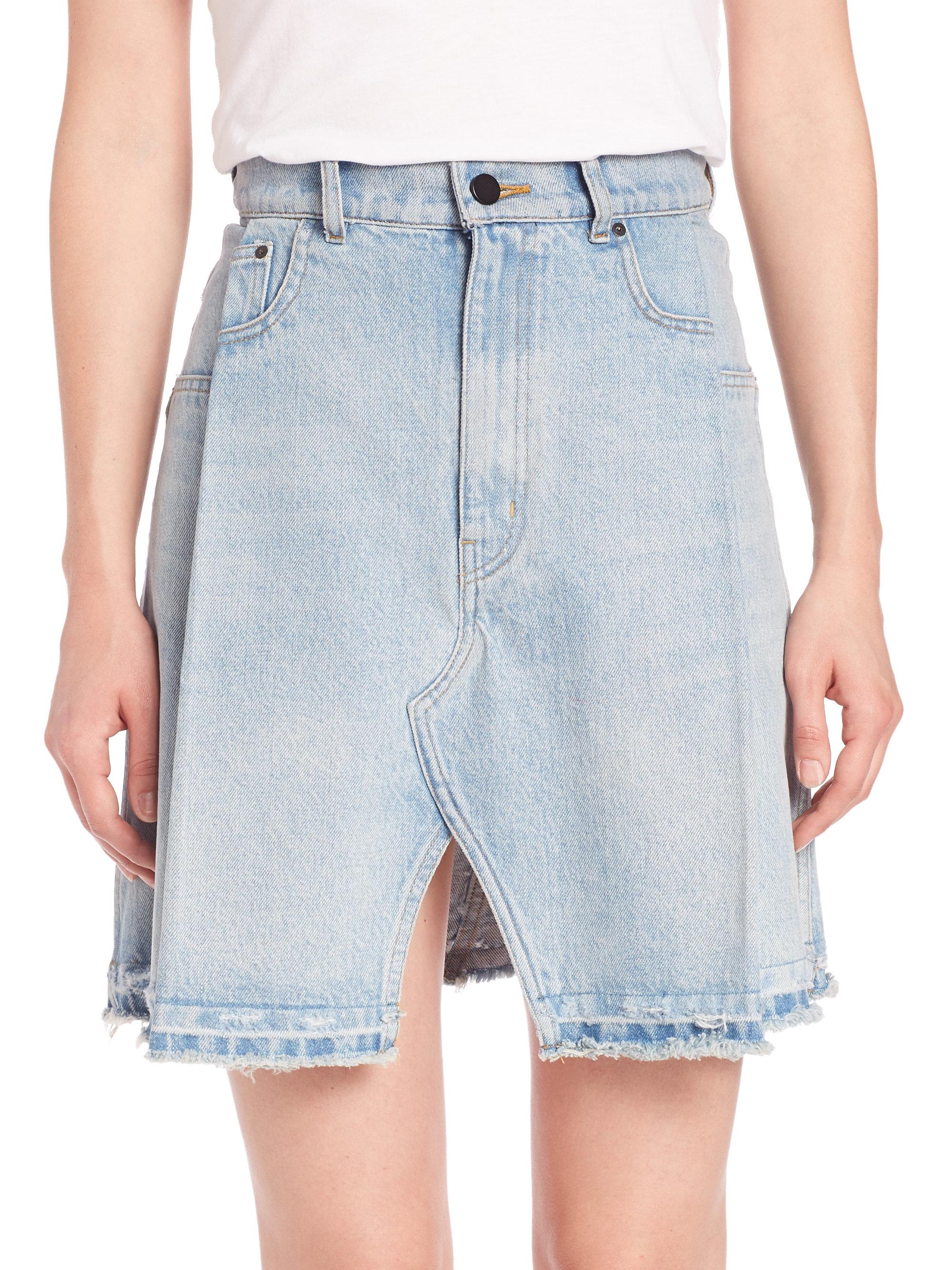 Alexander wang Pleated Bleached Denim Mini Skirt in Blue | Lyst