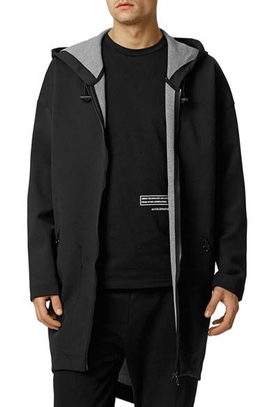 Topman Longline Scuba Knit Parka In Black For Men Lyst