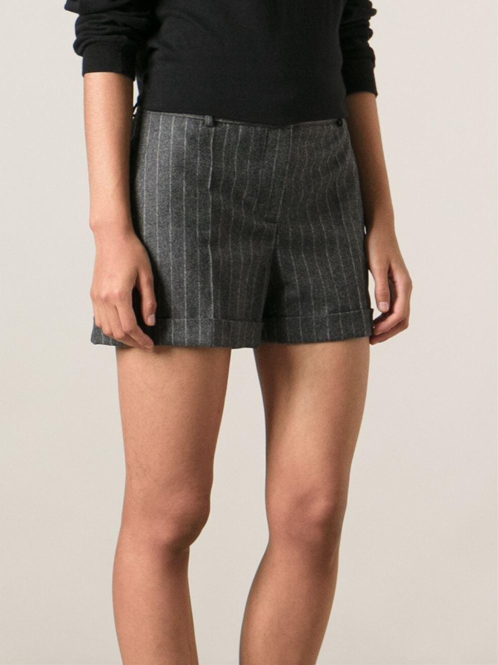 Alexander Mcqueen Pinstripe Shorts In Grey Gray - Lyst-4173