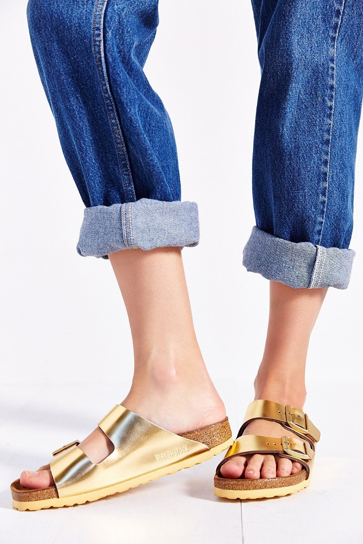 f7a0396fc273 Lyst - Birkenstock Arizona Soft Footbed Gold Metallic Slide Sandal in  Metallic