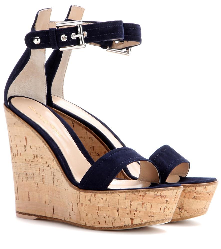 82affa8eb67 Lyst - Gianvito Rossi Camdeni Suede Wedge Sandals in Blue