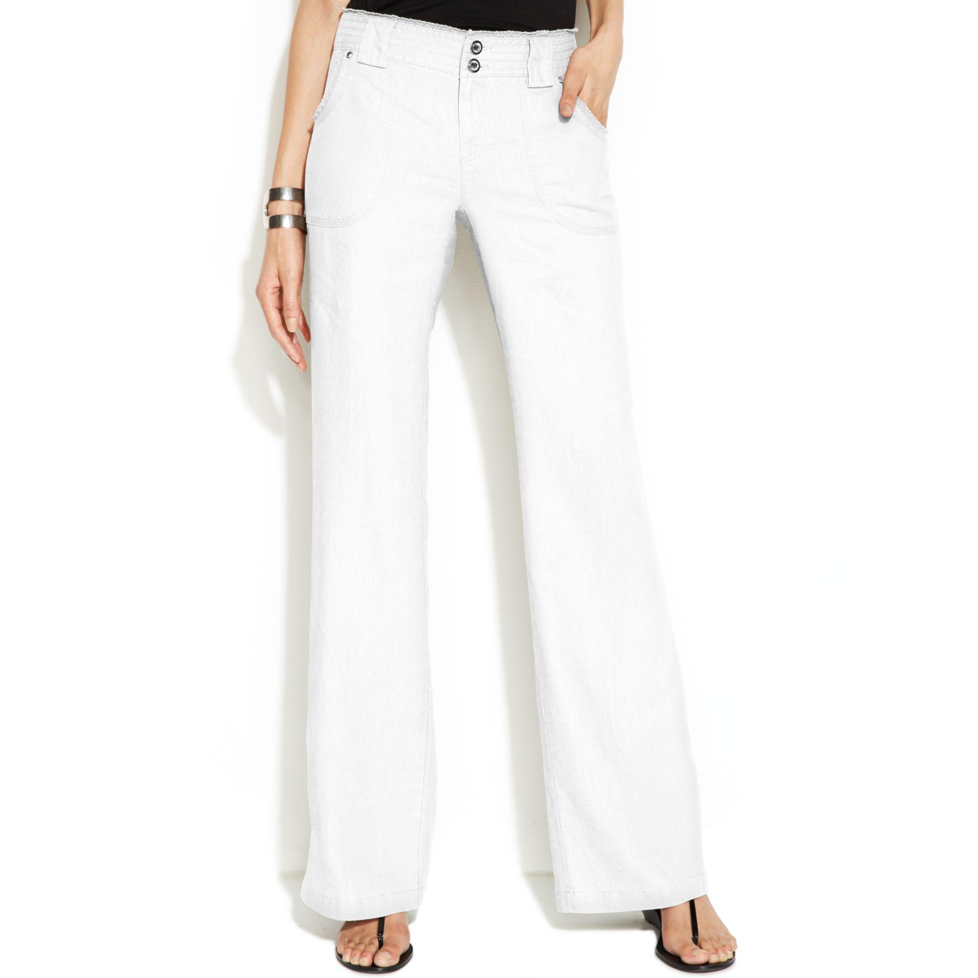 Inc international concepts Curvy-fit Lace-trim Wide-leg Linen ...