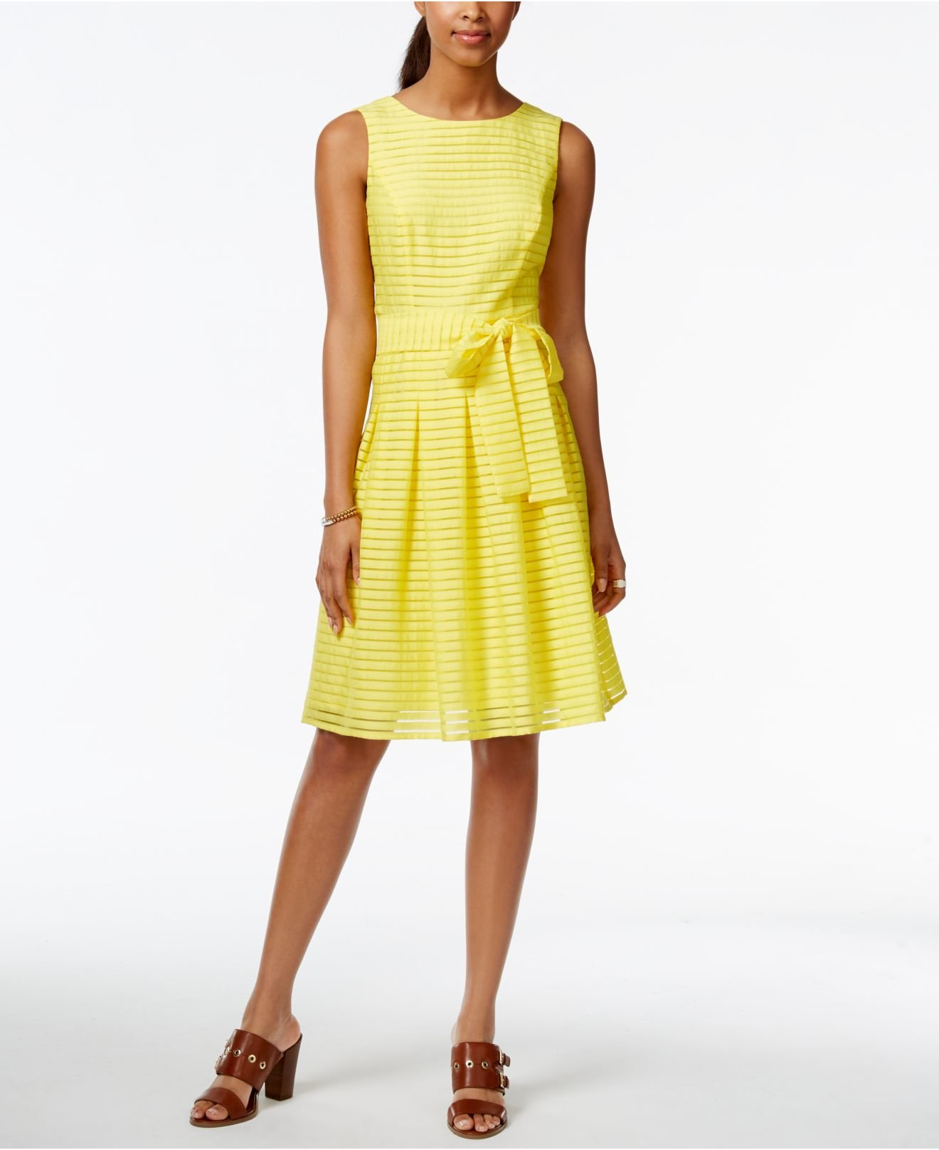 Tommy Hilfiger Illusion Striped Fit Amp Flare Dress In