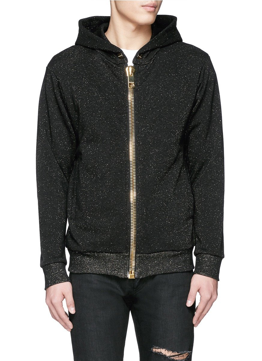 Palm Angels Cotton Chunky Zip Glitter Lurex Hoodie in Black for Men