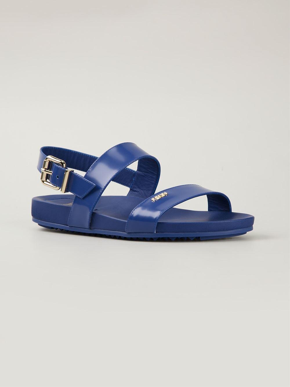 bdec32c5babf Lyst - Fendi Strappy Flat Sandals in Blue