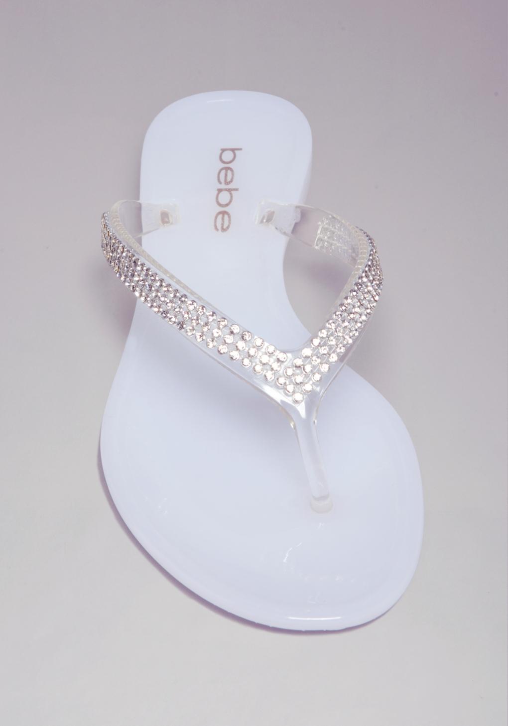 Lyst Bebe Audriella Jelly Flip Flops In White