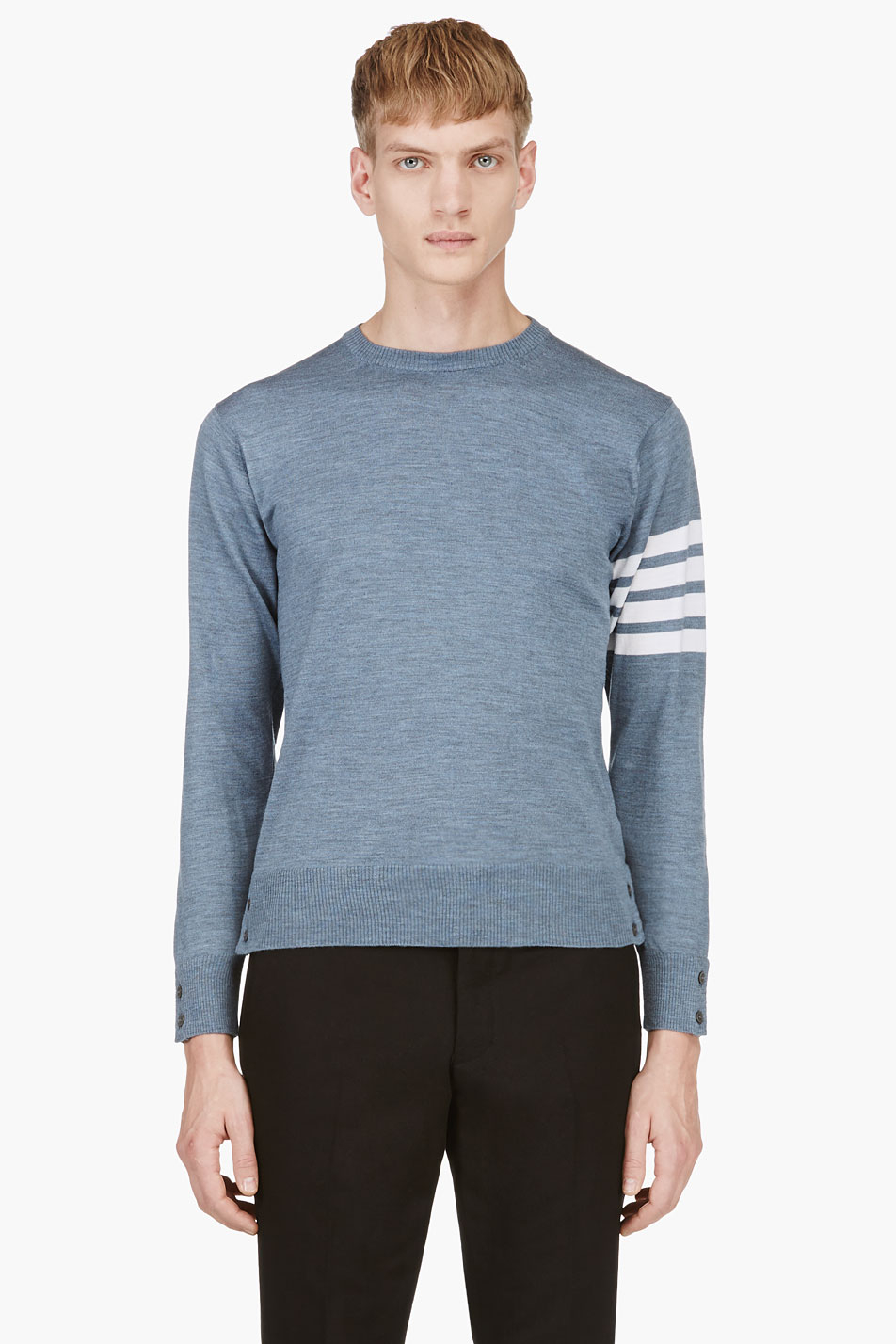 Thom browne Heather Blue Racer Stripe Sweater in Blue for Men | Lyst