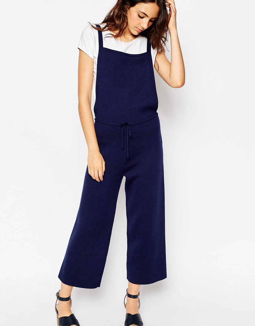 b939cf5f562 Lyst - ASOS Pinafore Jumpsuit In Knit With Wide Leg in Blue