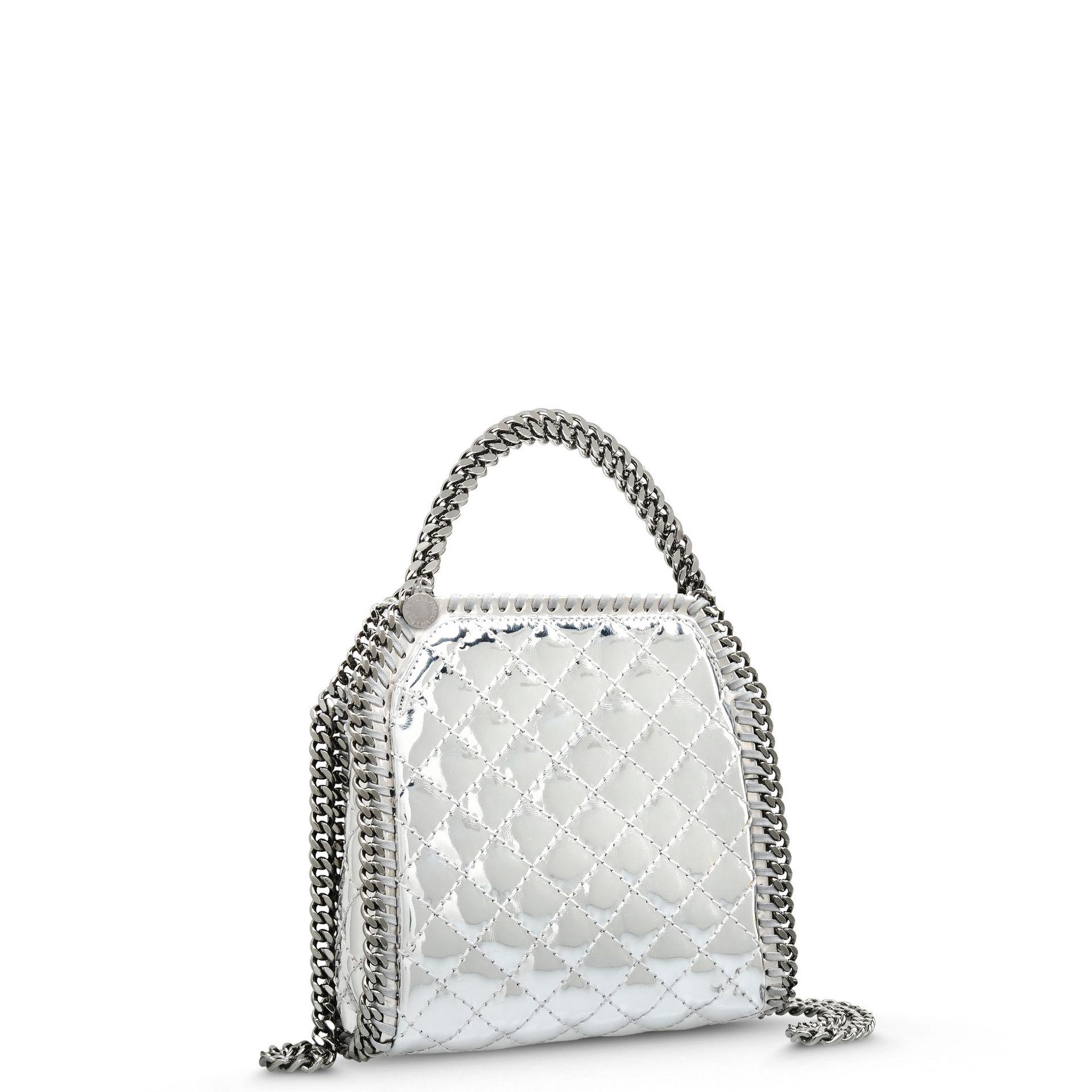 c5d032e8716f Lyst - Stella McCartney Falabella Quilted Metallic Mini Tote Bag in ...