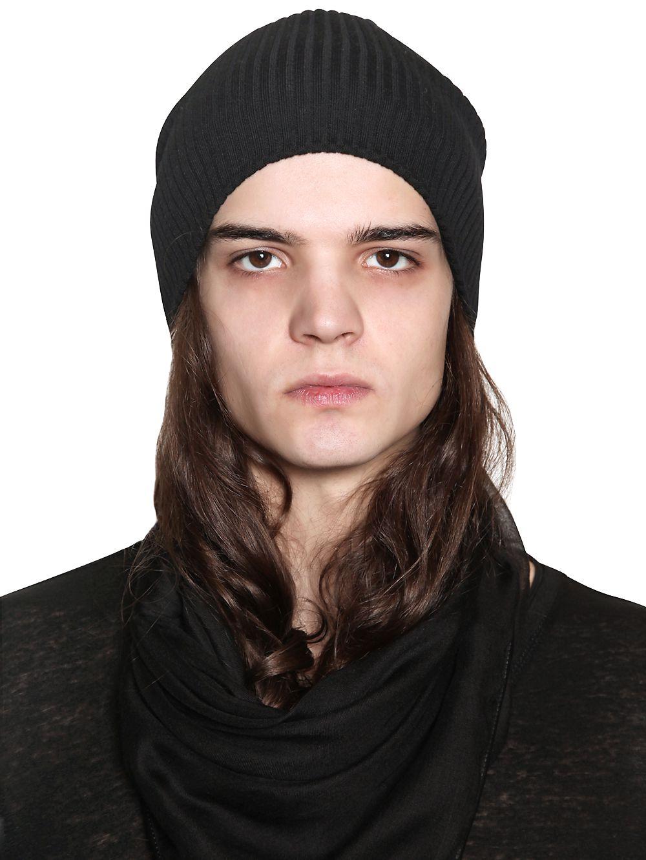 Lyst - John Varvatos Fine Merino Wool Knit Beanie Hat in Black for Men 0f9593e14ad0