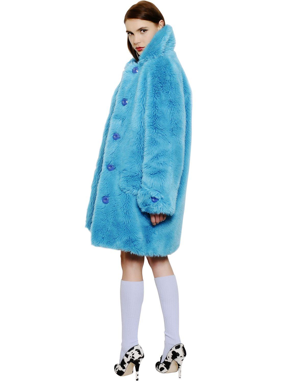 Au Jour Le Jour Faux Fur Coat In Blue Lyst
