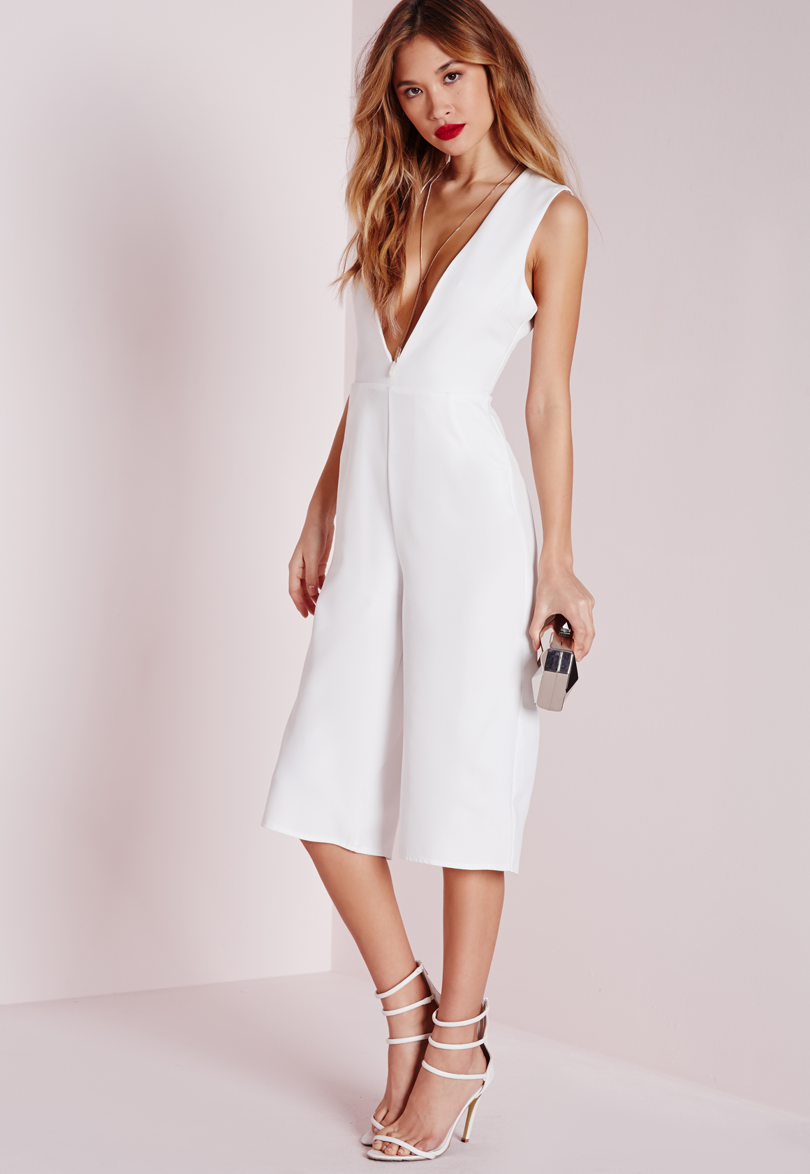 Missguided V Front Culotte Jumpsuit White in Black   Lyst
