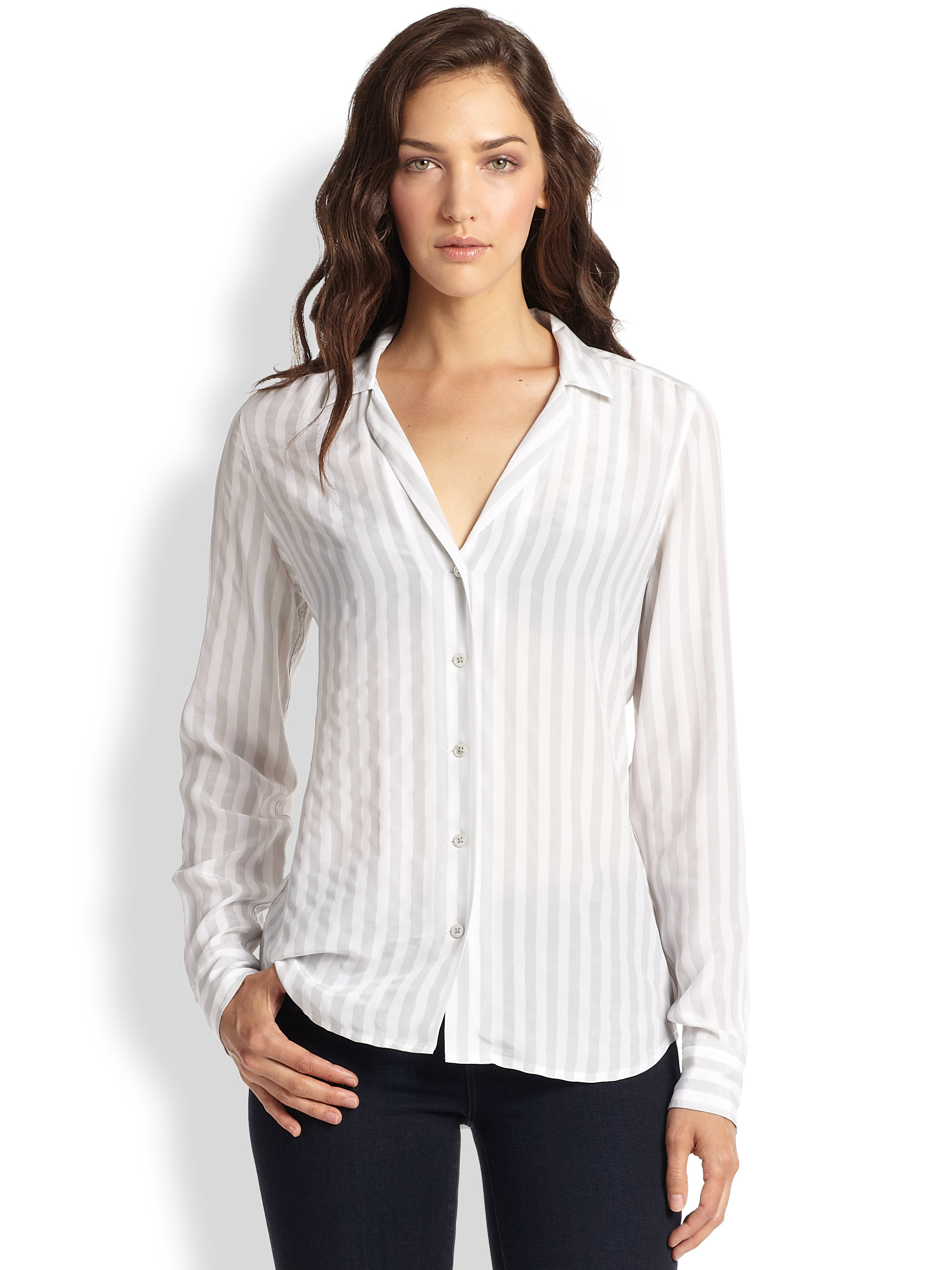 fdb2d6c38 Equipment White Adalyn Silk Striped Shirt