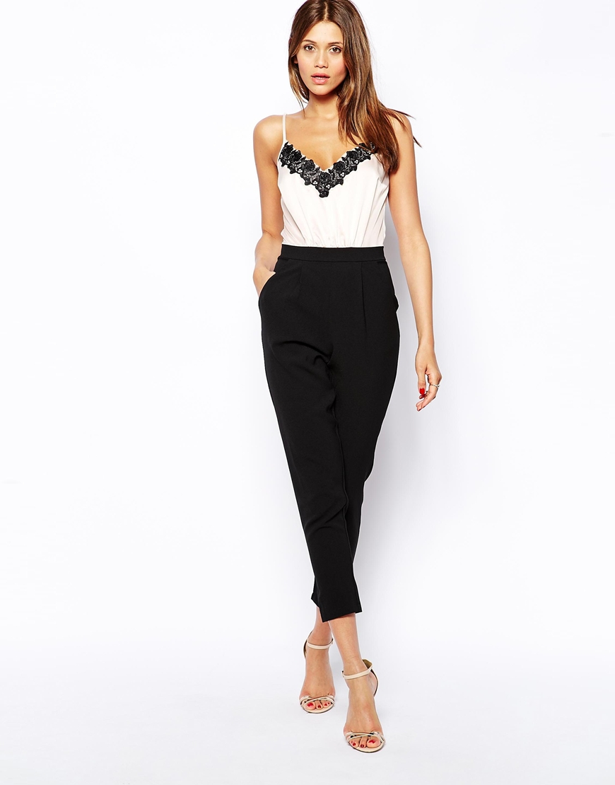 Lipsy Cami Top Jumpsuit With Lace Trim In Black | Lyst