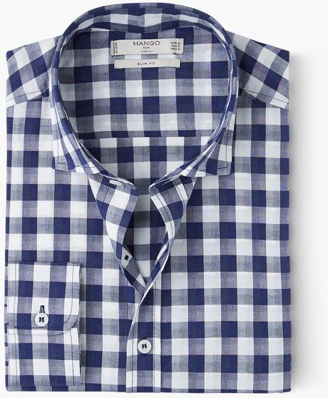 Mango Man Slim Fit Gingham Check Shirt In White For Men
