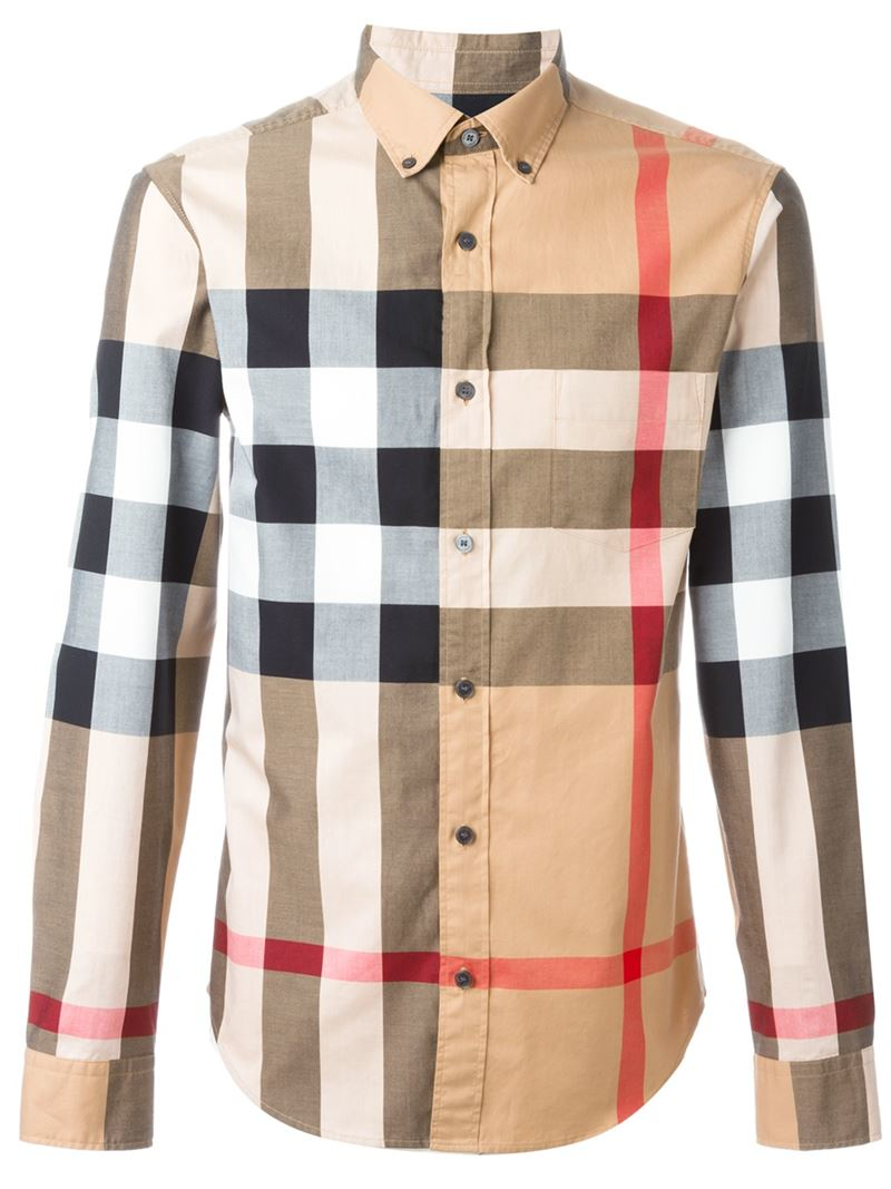 Burberry checked shirt in brown for men lyst for Burberry brit checked shirt